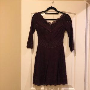 NWOT Free People Plum Lace Skater Dress 👗